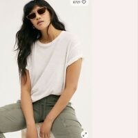 Free People We The Free Clarity Ringer T-Shirt Tee Large L Optic White NWT New