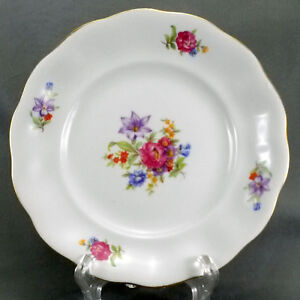 """Karolina China Bread and Butter Cake Plate 6.75"""" White Floral Gold Trim (FAV7)"""