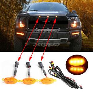 Raptor Style Amber Lens Grille LED Lights Fit For Ford F150 3pcs