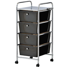 4 Black Drawer Plastic Storage Trolley On Wheels Hairdressers Salon Makeup Large
