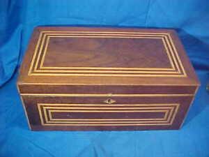 19thc VICTORIAN Era WOOD SEWING BOX w INLAID MARQUETRY STRIPES Lid DESIGN