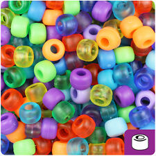 500 Frosted/Matte Mix 9x6mm Barrel Plastic Pony Beads Made in the USA