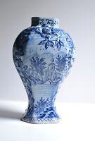 Rare 18C Antique Blue Delft Faience Vase Dutch Baroque Pottery