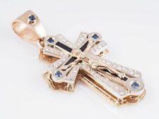 Religiöse Echtschmuck-Halsketten & -Anhänger mit Saphir-Kreuz-Motiv