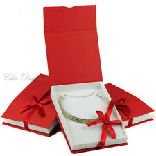 LOT OF 3 NECKLACE BOX RED JEWELRY BOX LARGE NECKLACE BOX SHOWCASE GIFT BOX DEAL!