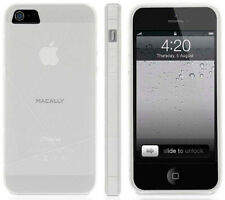 MACALLY FLEXFIT CLEAR FROSTED WHITE TPU SKIN CASE COVER FOR iPHONE 5 5s SE 2016