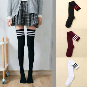 Long Socks Women Cotton Striped Over the Knee Thigh High For Ladies Girls