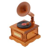 Classic Wooden Gramophone Music Box with Spirited Away Tune Christmas Gift