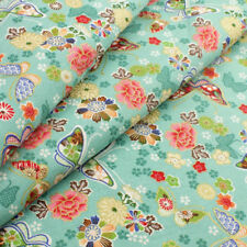 Turquoise Japanese floral butterfly cotton fabric fat quarter quilting FQ 0077