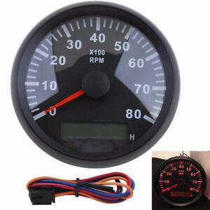85mm Car Marine Tachometer Gauge LCD Tacho Hour Meter 0-8000 RPM Red Backlight