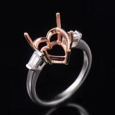 Natural Diamond Semi Mount Engagement Ring Settings Heart Cut 10×10mm 14K Gold