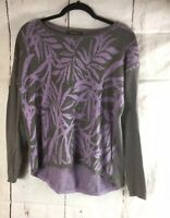 Tommy Bahama Women's Pullover Sweater Size Small Gray  Purple 100% Cotton