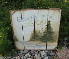 LAKE Pine Evergreen Trees Wall PICTURE*Primitive/French Country Farmhouse Decor