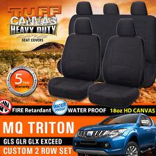 TUFF HD CANVAS Triton MQ Dual Cab Seat Covers 2ROWs JAN/2015-18 GLR GLX GLS BLK