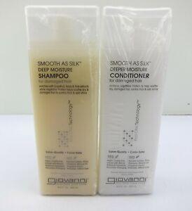 2 Pack Giovanni Eco Chic Smooth As Silk Deep Moisture Shampoo Conditioner 8.5 Oz