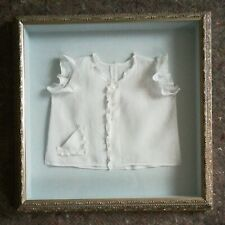 Silver Framed White with tiny blue dots lace Baby C1940s diaper Shirt