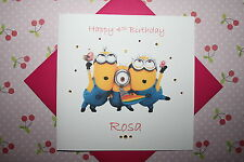 Handmade Personalised Minions Birthday Card Any Age 1 2 3 4 5 6 7 8