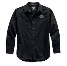 Harley-Davidson Men's Logo Woven Long Sleeve Shirt, Black 99011-15VM