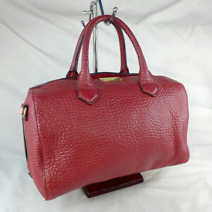Authentic Burberry Alchester Red Leather Medium Bowler Tote Handbag Good Con