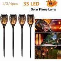 1-4Pack 33 LED Solar Torch Light Flickering Dancing Flame Garden Waterproof Lamp