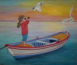 "original oil painting, Bright horizon, Little Girl and the Sea-  24""x 20"" x 5/8"""