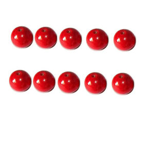 Car Red Pendant seat round beads scattered beads wood beads Accessories 10pcs M5