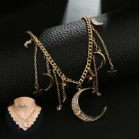 Pendant Chain Necklace Star Jewelry Multilayer Women's Chic Moon Choker Crystal