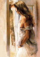 LMOP619 sexy girl stand on window 100% hand painted art oil painting on canvas