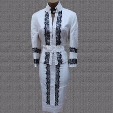 Stunning Karen Millen Ivory Black Lace Trim Suit Jacket Blazer SZ-12 Skirt SZ-8