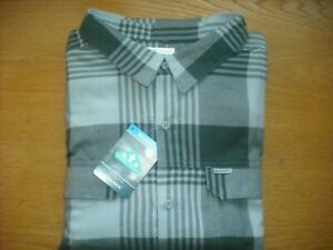 Mens NWT COLUMBIA Flannel Shirt BIG & TALL Multi-Gray Plaid Legit Size 4XL-TALL
