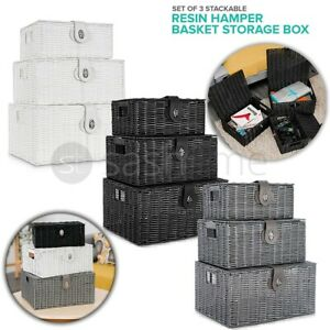 SET OF 3 Storage Baskets Resin Wicker Woven Hamper Box Lid & Lock Stackable UK