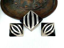 Earrings Onyx Stripe Zebra Animal Print Taxco Sterling Silver Set Suite Pendant