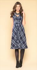 Monsoon Ruby Uk18 Blue Plaid Check Tartan Cotton Blend Dress Sleeveless Pinafore
