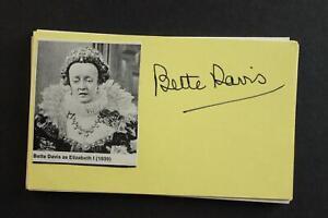 BETTE DAVIS (1908-1989) (JEZEBEL~DANGEROUS) AUTOGRAPH INDEX CARD~