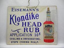 Eisemann's Klondike Head Rub Application ORIGINAL Cardboard Sign