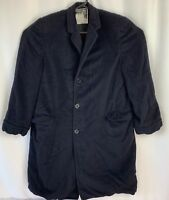 Mens Fashion Park Black 100% Cashmere Long Dress Over Top Coat 42R Sz L Made USA