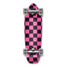 Checker Pink Complete Longboard Mini Cruiser Skateboard