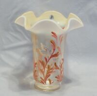 Fenton Glass Coral Silken Sand Starfish Painted Vase Signed Christine Fenton