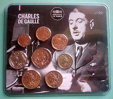 France 2020   Miniset Charles De Gaulle  de 1 ct à 2 €    Rare 500 exemplaires
