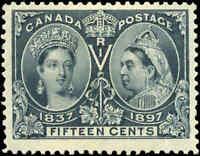 1897 Mint Canada F-VF Scott #58 15c Diamond Jubilee Stamp Hinged