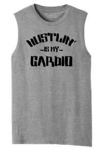 Mens Hustlin Is My Cardio Motivational Tee Muscle Tank Work Workout Gym
