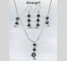 Fantasy Moon and Stars Black Czech Necklace Earring Set