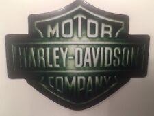 """HARLEY DAVIDSON BAR SHIELD OUTSIDE STICKER 4""""X 3.5"""" IRON SCREEN 1 GREEN"""