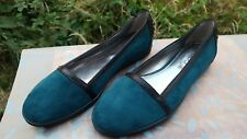 Tods Womens Flats Suede & Leather Petrol Blue & Black UK 3.5 EUR 35.5 Italian