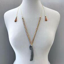 Dark Gray Color Charm Pendant Necklace Gold Finished Wood Beads Thread Tassel