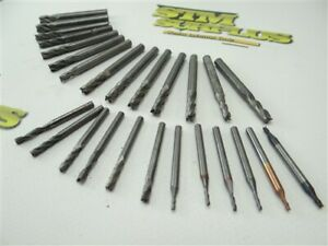 "LOT OF 26 SOLID CARBIDE END MILLS 1/16"" TO 1/4"" GARR"