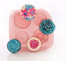 Victorian Button Silicone Mold Food Safe Fondant Chocolate Mint Resin Clay (770)