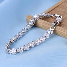 Lovely 14k White Gold Mix Finish Diamond Tennis Women Bracelet