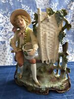 Lovely Antique All Bisque Gebruder Heubach  Figurine Vase Planter