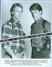"MICHAEL BECK & MICHAEL PARE ORIGINAL 1987 B&W 8x10 PRESS PHOTO ""HOUSTON KNIGHTS"""